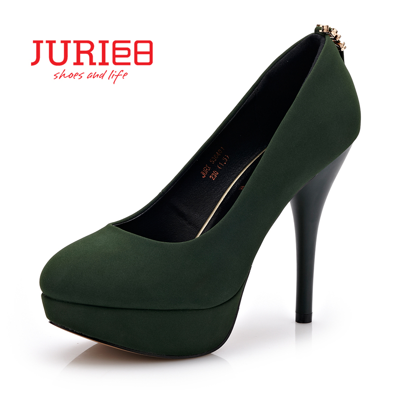 Juri spring and autumn new fashion women's singles shoes shallow mouth waterproof taiwan fine with high heels temperament was thin female models shoes