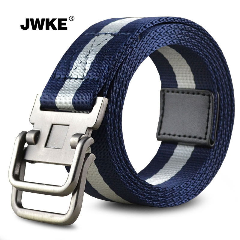 Jwke men's double loop buckle canvas belt men casual outdoor canvas belt cloth belt belt student youth