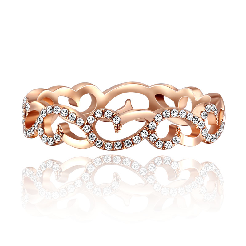 K gold platinum rose gold color gold diamond ring inlaid group married marry diamond ring finger female models authentic custom