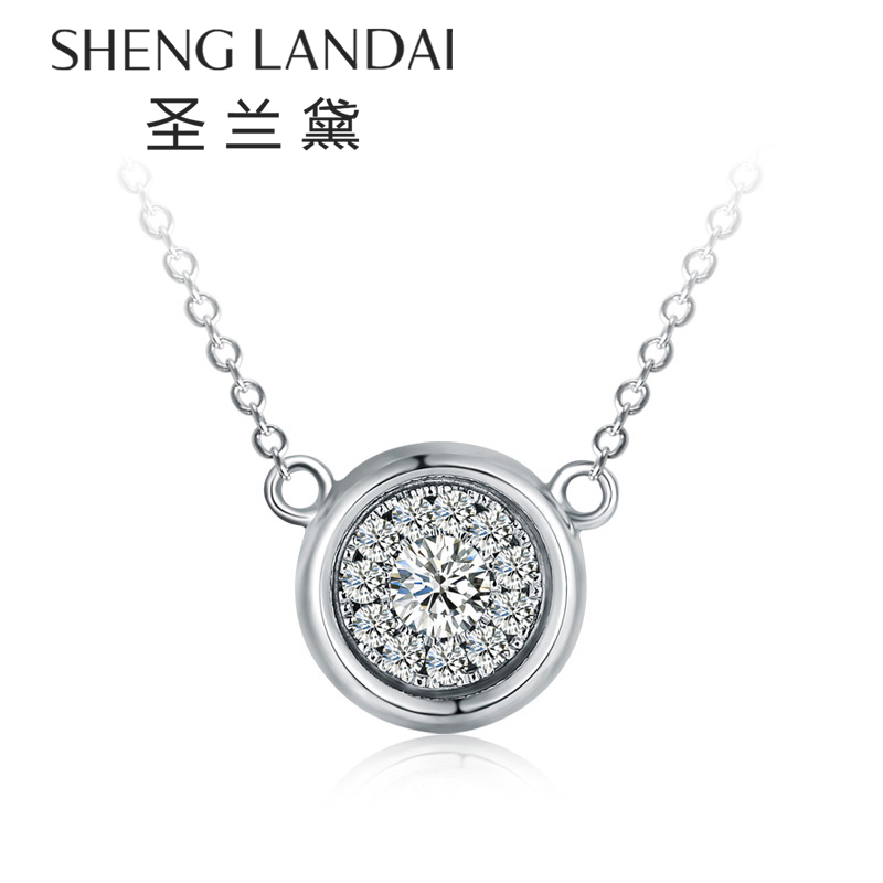 å£å…°é»k white gold diamond cluster pendant inlaid female models round diamond pendant diamond necklace female clavicle chain