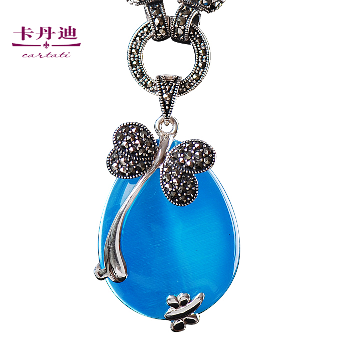Kadan di genuine silver 925 silver necklace pendants female models intime retro palace full of new indicus pingdi yao spot blue