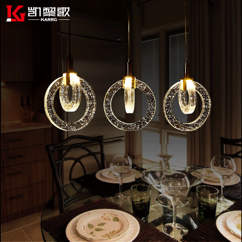 Kai lai song bubble crystal lamp led pendant lamp chandelier bar chandelier 3 creative creative circle ring bubble column restaurant Lamps
