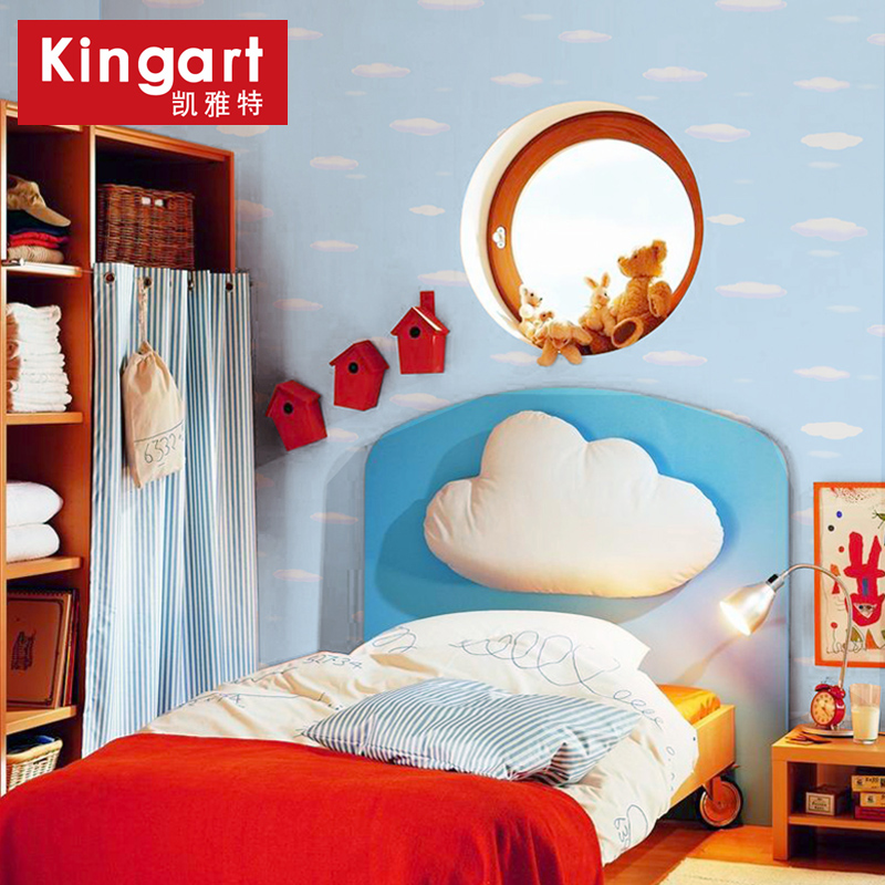 Get Quotations Kai Yate Wallpaper Pure Paper Paved Cozy Bedroom Clouds Blue Color Childrens Room Cute