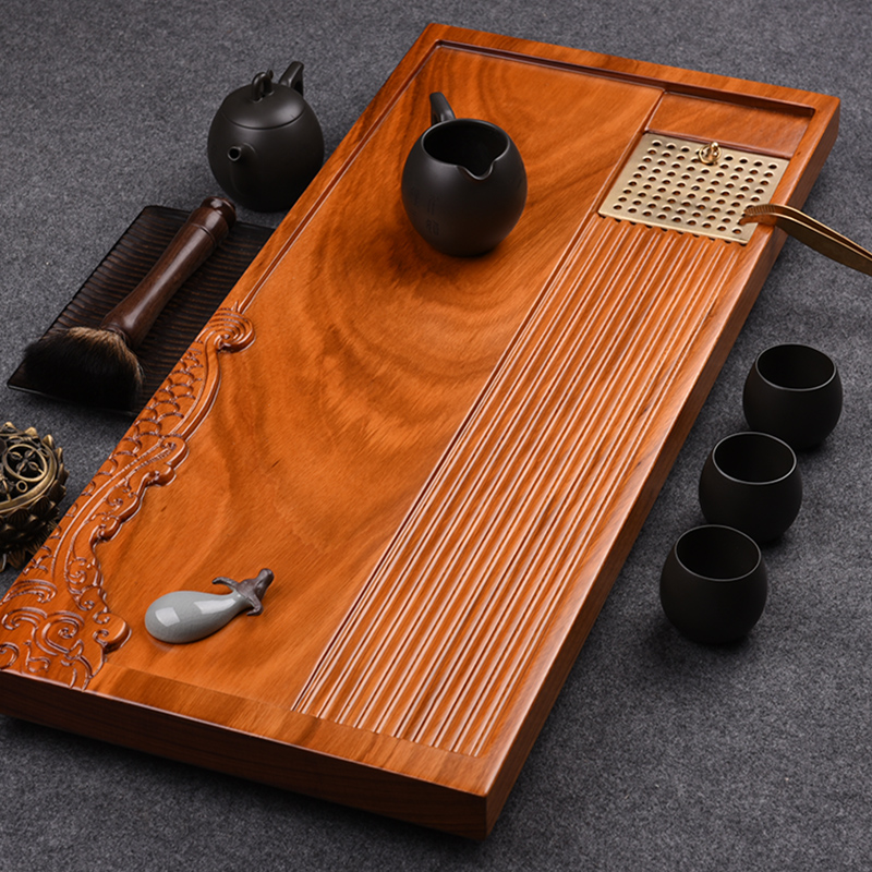 Kam grid inblock ugyen wood tea tray drainage saucer tea tray wood kung fu tea ebony dry tea sets