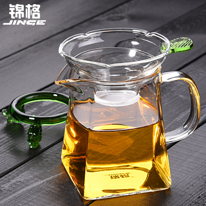 Kam grid of high temperature resistant glass fair cup thick quartet fair cup of tea sea kung fu tea with tea strainers tea filter