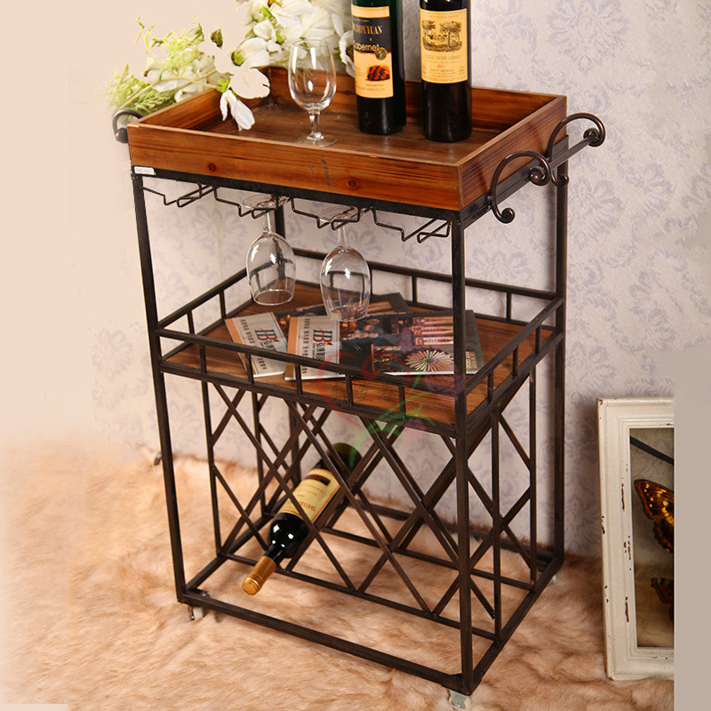 Kam tong chun wine floor wine rack wine cup holder wine cooler european mobile meal sidecar american retro style wine rack wine rack