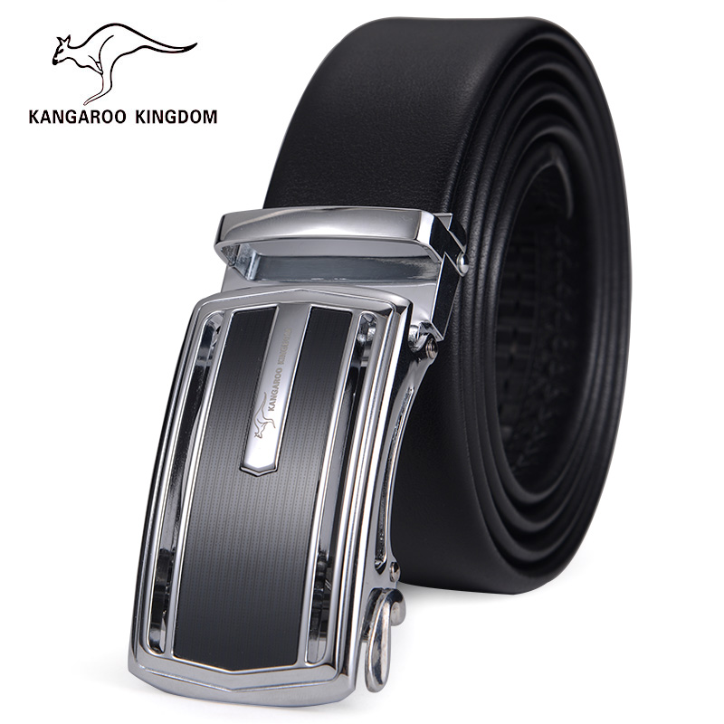 Kangaroo leather belt men's first layer of leather belt youth leisure automatic belt buckle leather belt men belt business