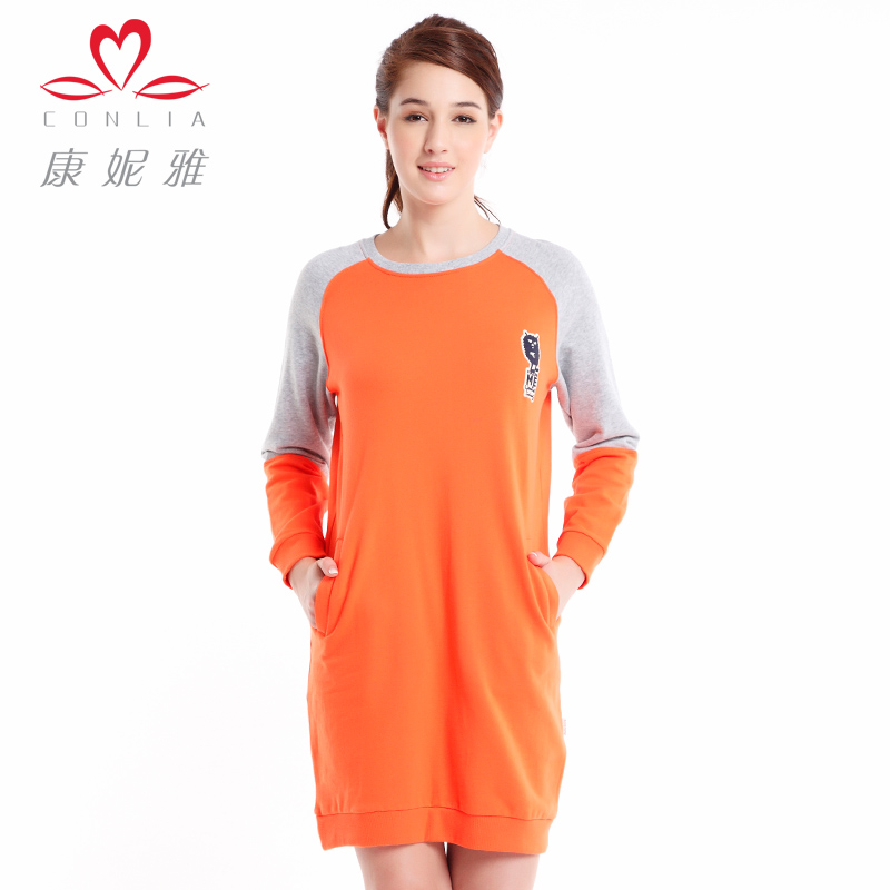 Kangniya nightgown ms. spring and autumn long sleeve solid color short paragraph casual sports can waichuan cotton nightgown home dress