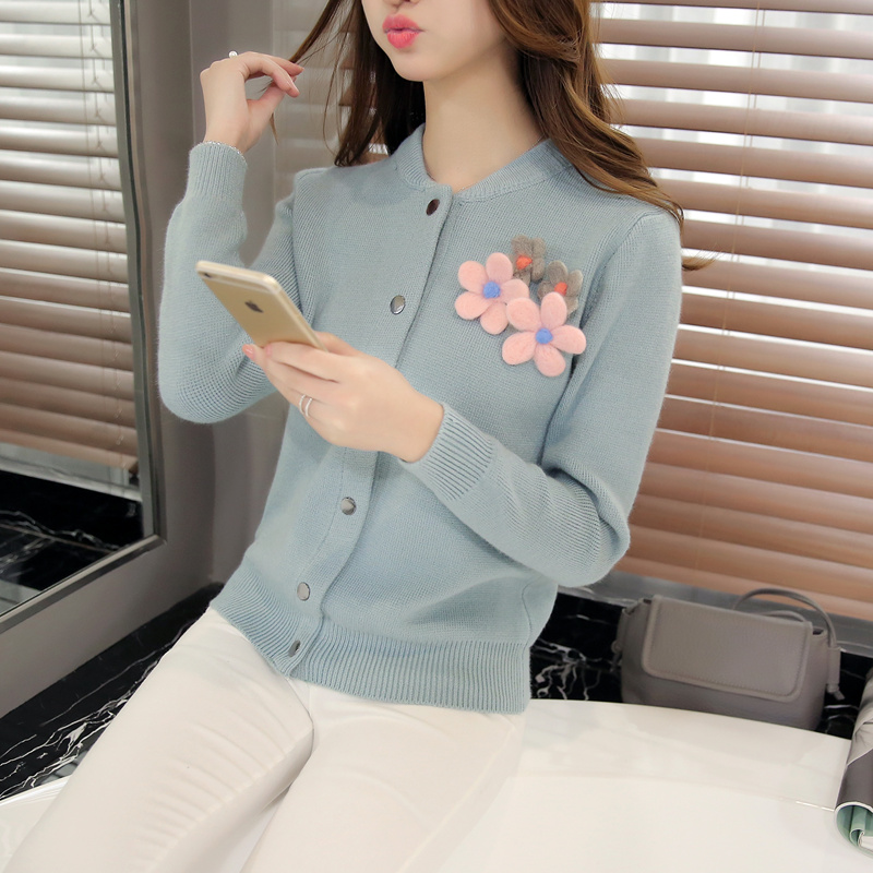 Kani still 2016 spring new korean version of the three-dimensional flowers knit cardigan women slim round neck knit sweater coat female