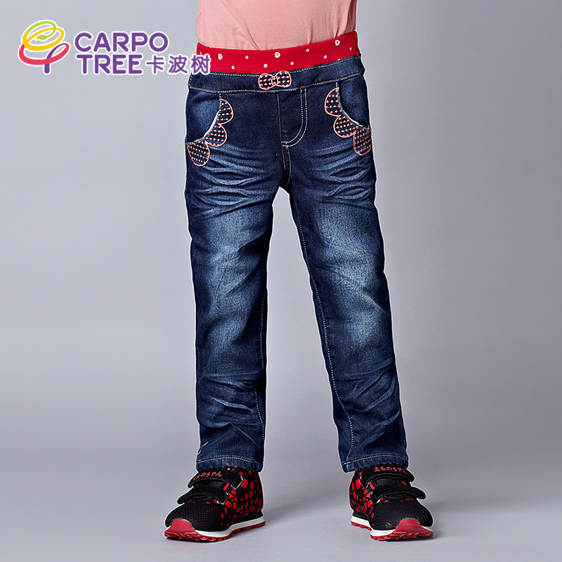 Kaposi tree kids 2016 winter new children's jeans female long pants for children bao bao casual straight jeans