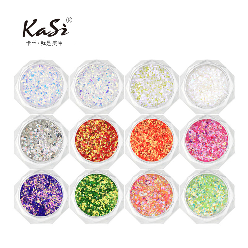 Kasi gradient nail glitter laser powder glitter piece phototherapy bright pink nail tools decorations 25-48 color