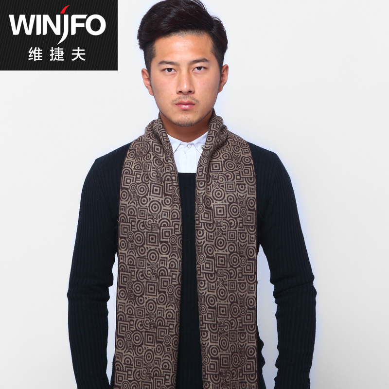 Katsuo dimentional new men's autumn and winter scarves korean version of casual upscale silk scarf thick warm scarf