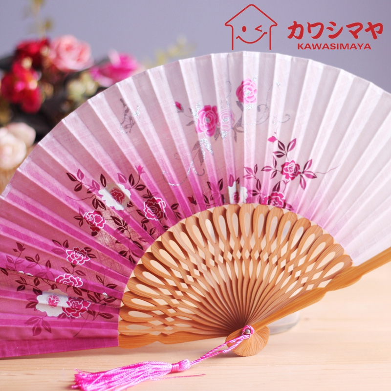 Kawashima house linen printing female fan folding fan of japanese bamboo craft 2 color into 711