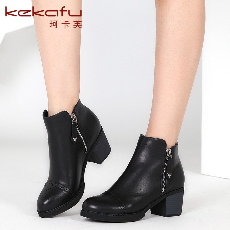 Keka fu 2016 autumn and winter fashion boots female british fashion boots  with thick heels round 5960aec9f448