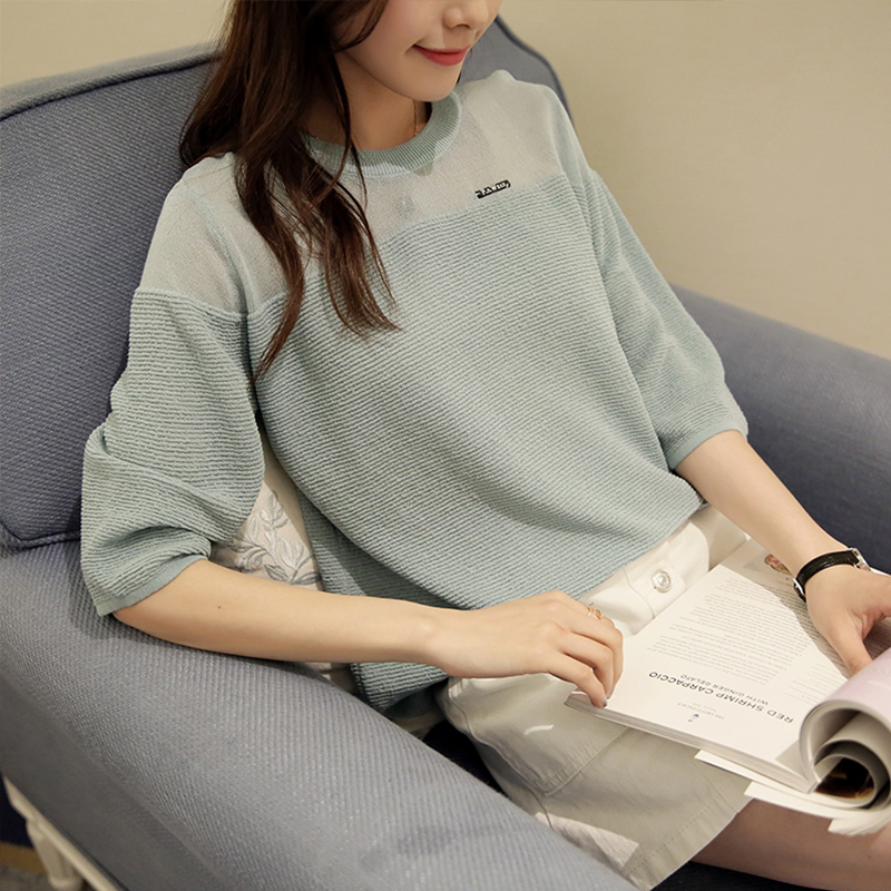 Kelly ting spring and summer new comfortable round neck hedging women 2016 summer new korean version of the thin section sleeve sweater
