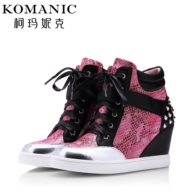 Kema penny autumn spell color soft surface leather serpentine high shoes increased within the high heel shoes round casual shoes