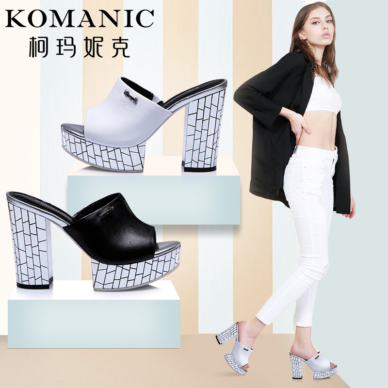 Kema penny summer clearance cheap leather shoes waterproof rough heels elegant white a font sandals and slippers
