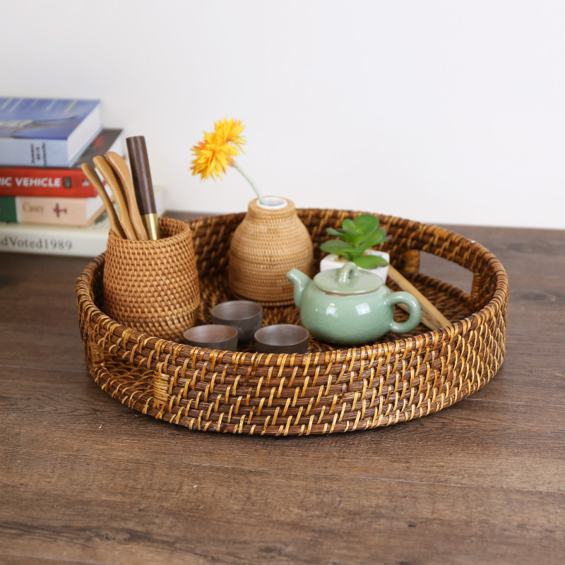 Kens imported handmade round rattan portable storage basket pastry dish fruit plate tray tea tray