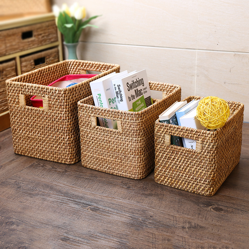 Kens imported rectangular handle attached laundry storage basket rattan basket storage basket storage magazine