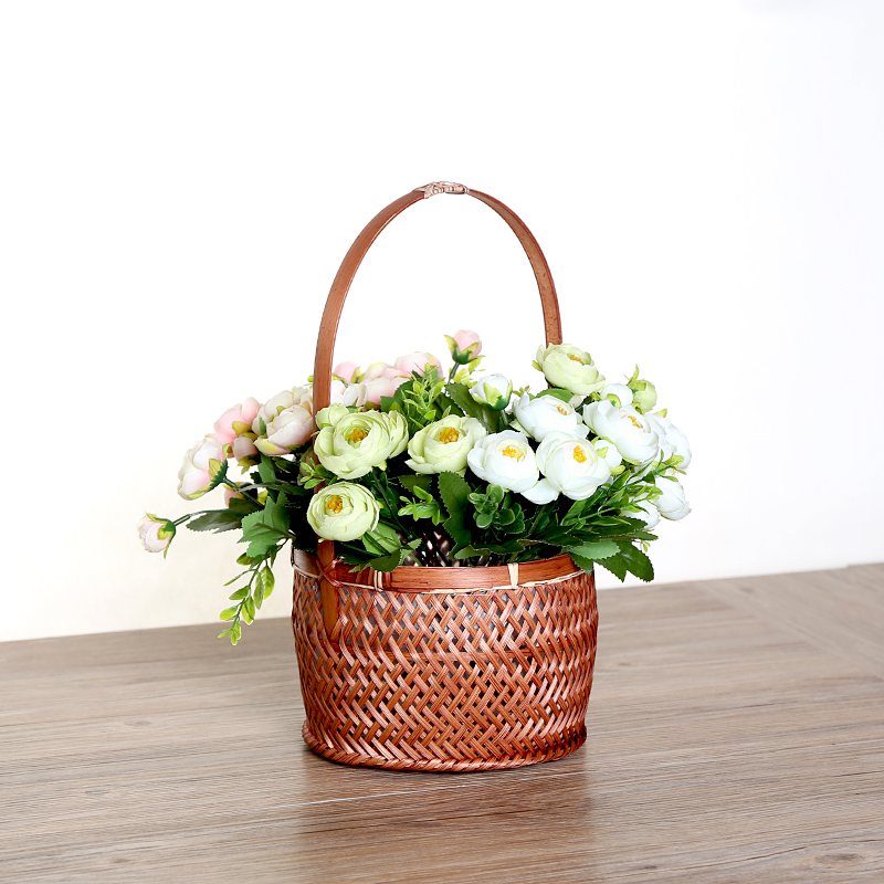 Kens imported round bamboo basket baskets baskets portable basket basket fruit basket of eggs basket tea storage basket