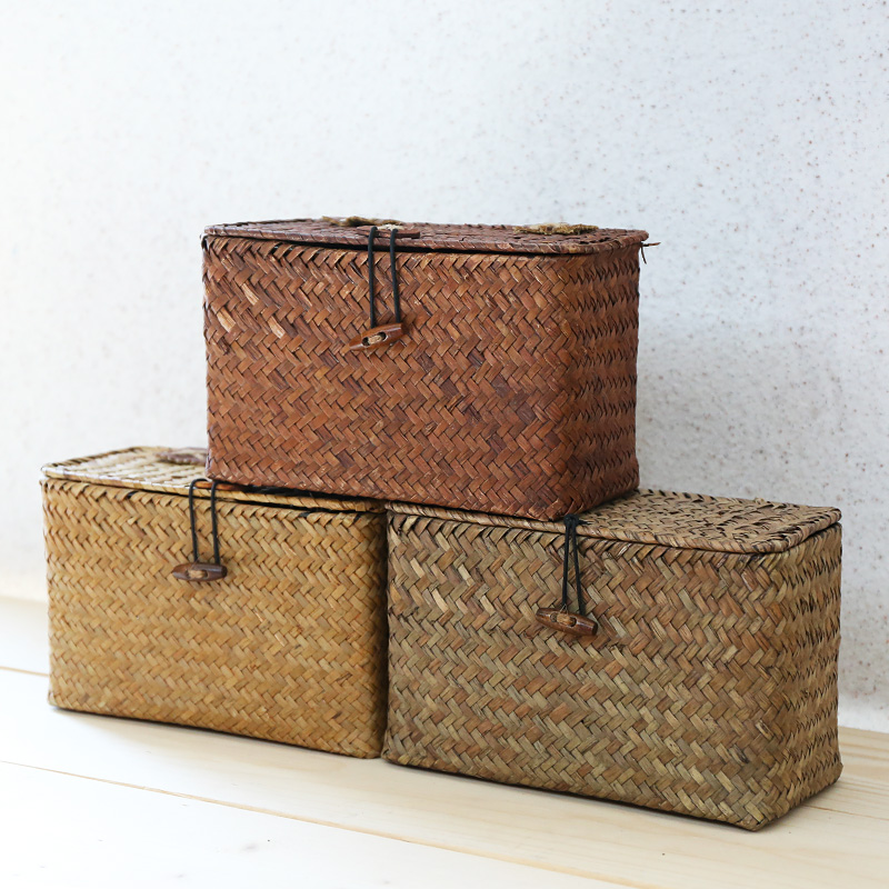 Kens non rattan handmade jewelry packaging boxes sea straw storage basket creative desktop storage box