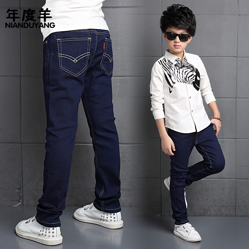 Kids 2016 new boys jeans pants trousers spring models big virgin straight jeans korean version of casual pants children pants
