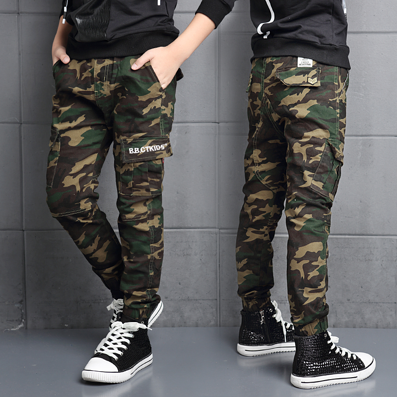Kids autumn boys camouflage pants trousers for children aged 8-12 spring slim pants feet boy pants casual pants boys
