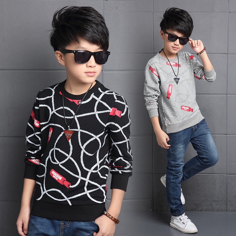 Kids boys big virgin cotton 2016 new spring and autumn long sleeve t-shirt shirt korean children bottoming shirt