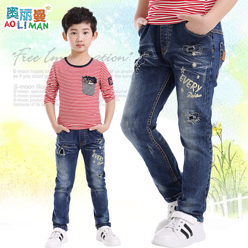 Kids boys jeans pants 2016 autumn zhongshan university children's casual jeans long pants korean version of spring and autumn paragraph boys