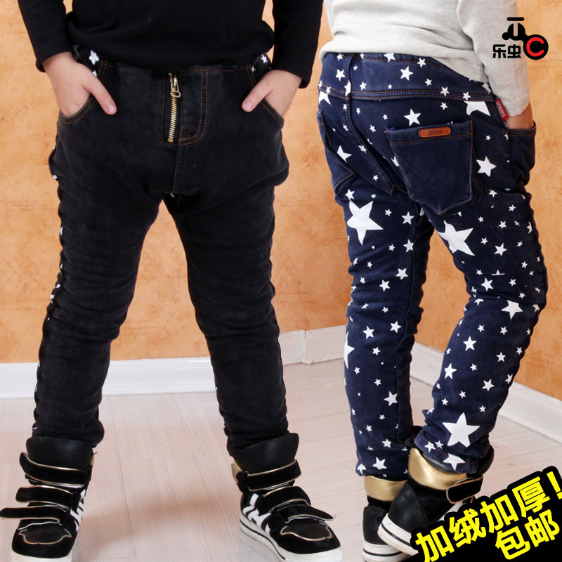 5624289a9 Get Quotations · Kids boys jeans plus thick velvet trousers children pants  baby winter 20 new wave of 16