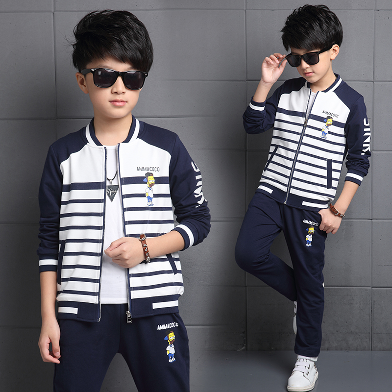 Kids boys spring and autumn 2016 new 5 7 children 8 boys 10 big virgin sleeved shipped 12-15-year-old action suit