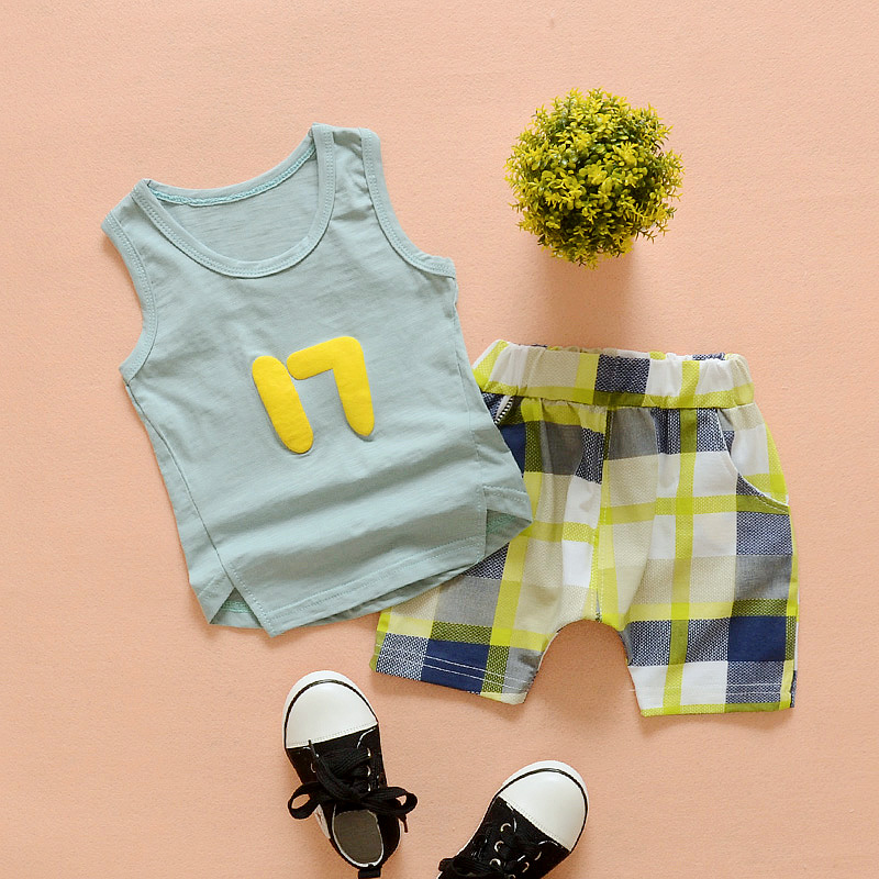 Kids boys summer suit 2016 new wave of baby child sleeveless vest shorts casual sports piece