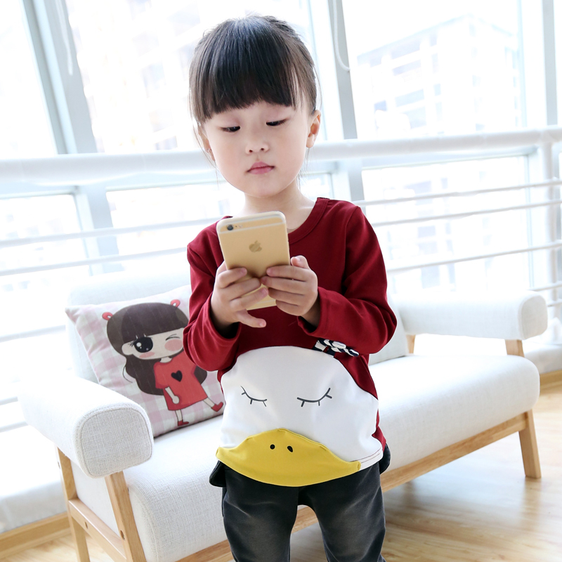 Kids girls 2016 spring new korean version of the children's cartoon hedging round neck t-shirt female wild bottoming shirt children