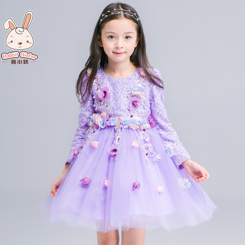 Kids girls dress 2016 spring and autumn new korean version of autumn big virgin performances skirt princess dress children