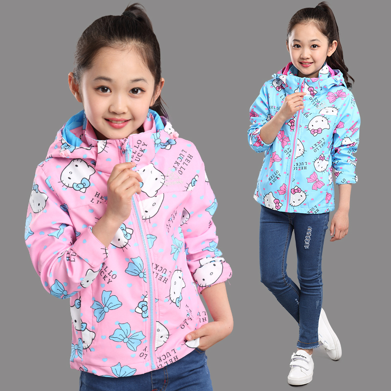 Kids girls spring and autumn coat 2016 new big virgin tops children little girl thick outdoor jackets