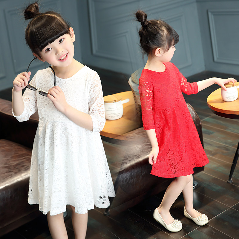 Kids girls summer 2016 new dress in a solid color children girls dress princess dress summer influx of children