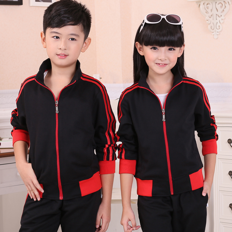 Kids spring and autumn boys and girls sports suit dress sisters sleeved cardigan big boy trousers winter piece