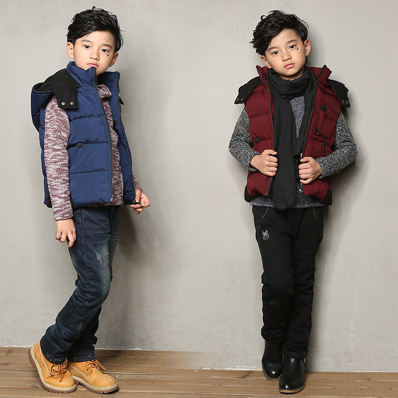 Kids winter 2015 new boys big virgin child zipper cardigan vest vest vest student boys