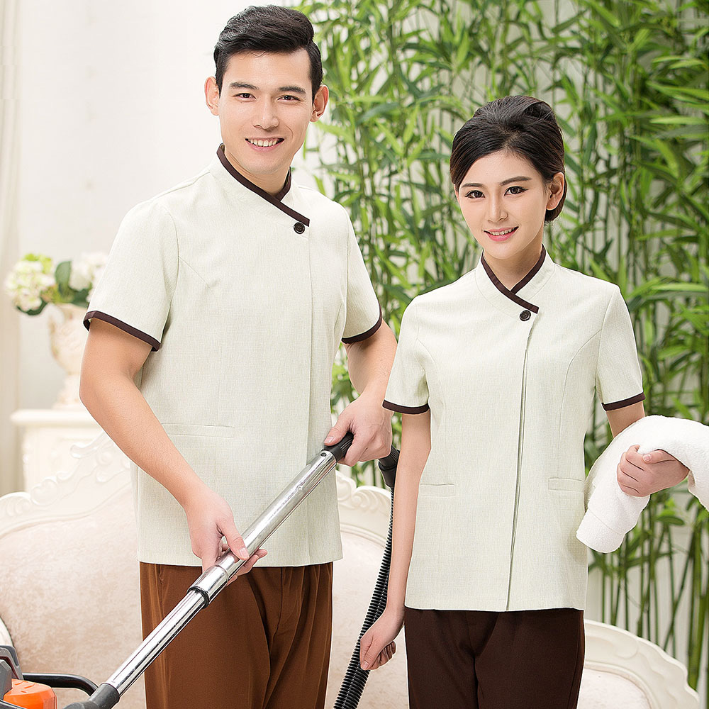 Kim wai lok maids' summer cleaning service hotel room attendant uniforms short sleeve dress uniforms hotel property