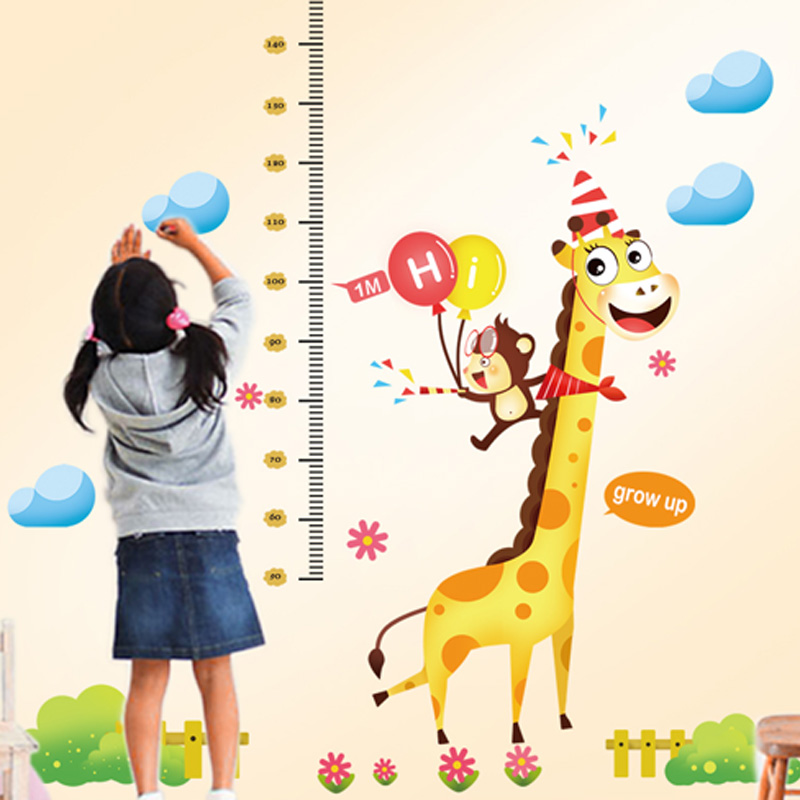 Kindergarten decorative wall stickers children's room on the room giraffe measuring height stickers removable wall stickers cartoon paper
