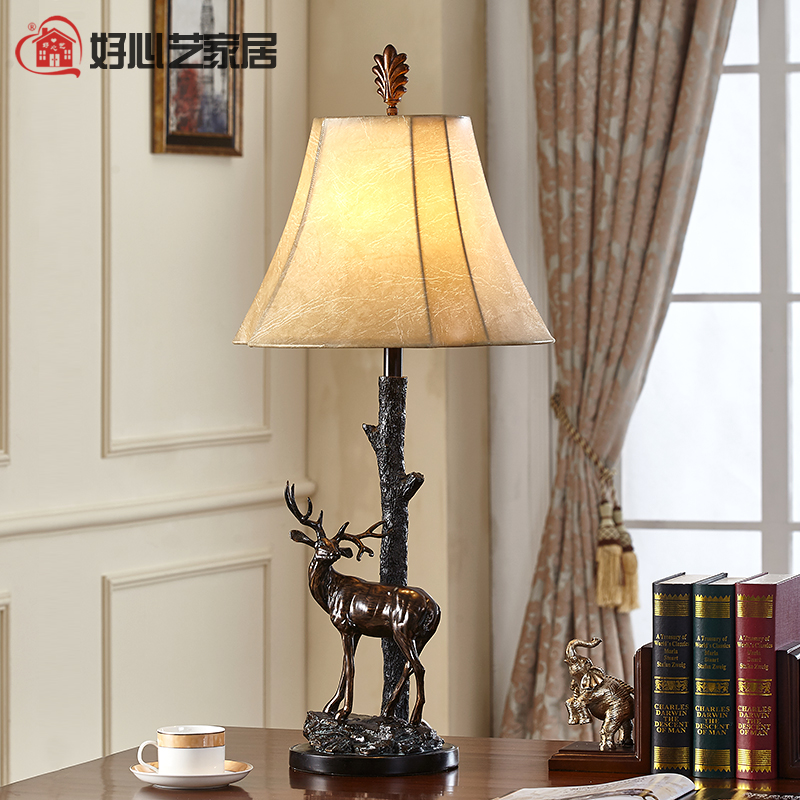 Kindly arts european american country retro resin decorative lamp bedside lamp creative personality living room den deer lamp