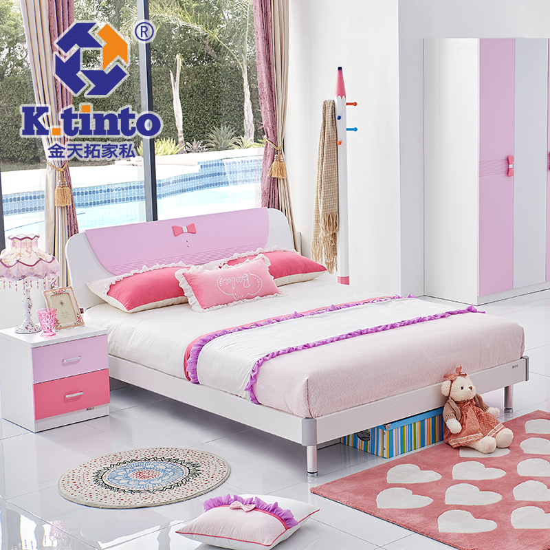 King day extension furniture mattress single bed children's furniture suite princess girl bedroom furniture 819