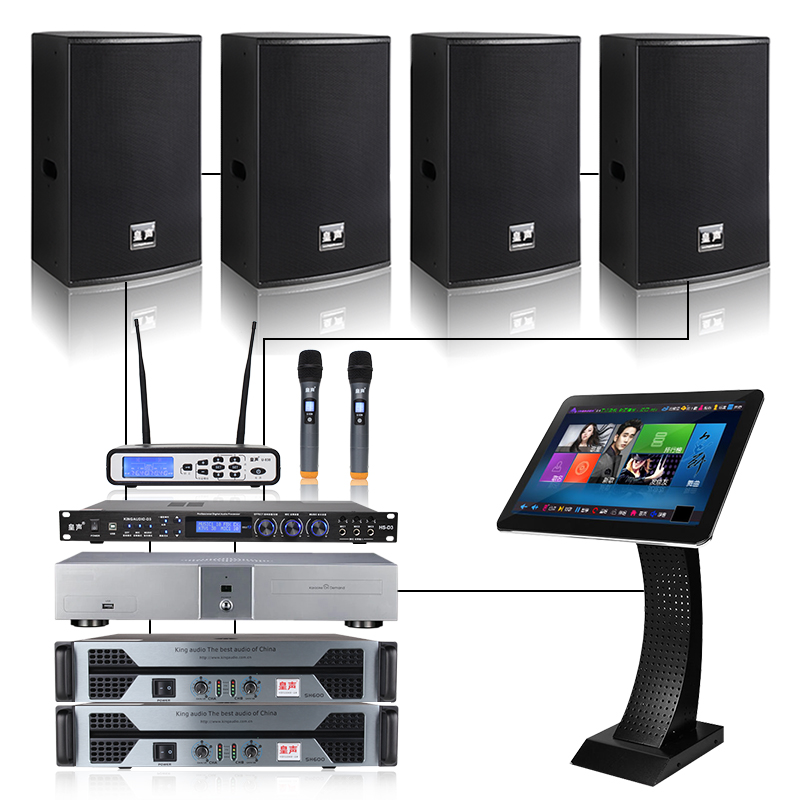 Kingaudio/huang sound t15 + vod + wireless microphone dragged four stereo sound package ktv bar