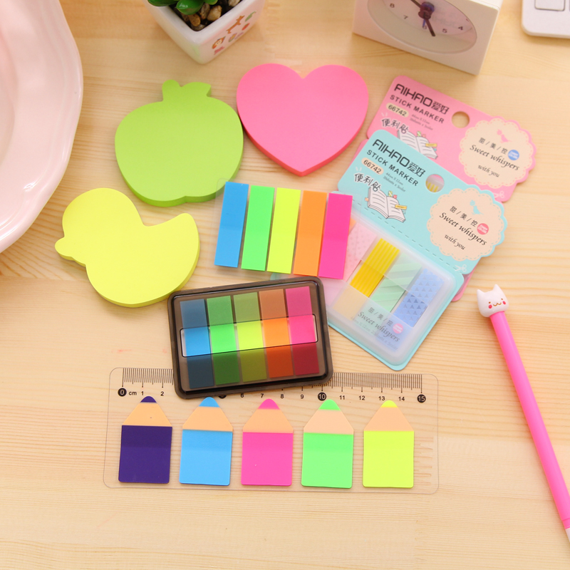 Korea creative hobby fluorescent transparent color notes stickers computer stickers sticky n times posted message board message board