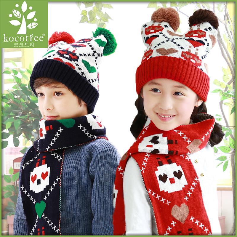 Korea kk tree fall and winter children scarf baby boys and girls hat scarf piece fitted children aged 2-4-8