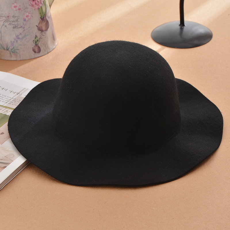 Korea retro british small waves along the dome wool fedora hat wool fedora hat large brimmed hat female small black pepper