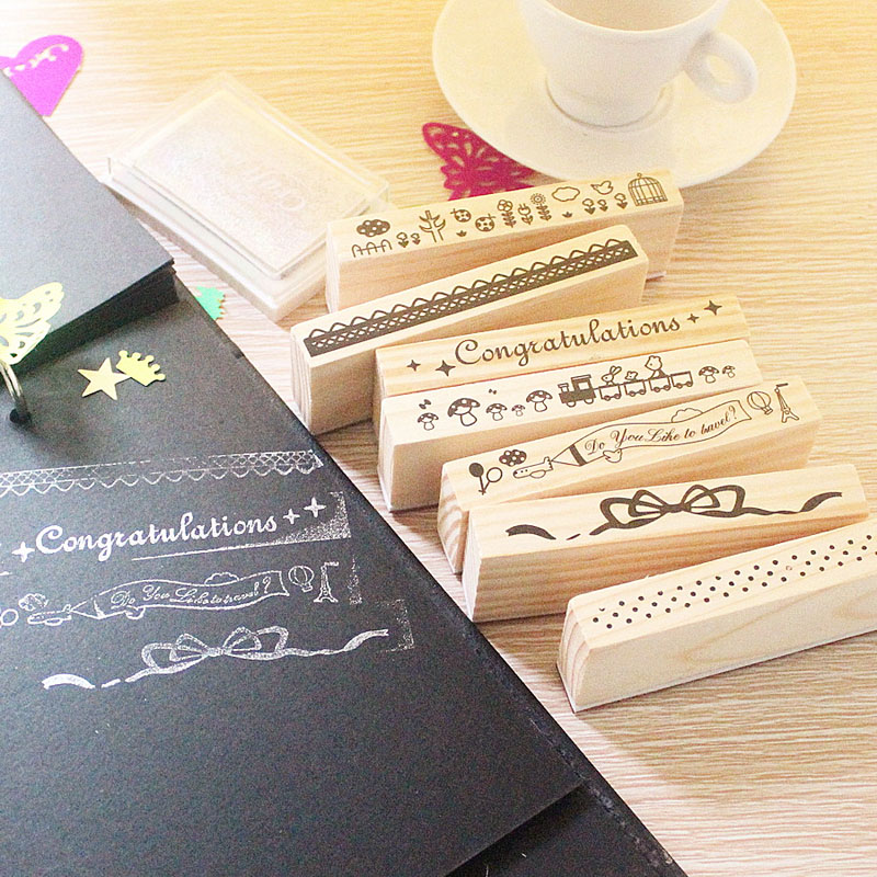 Korea stationery diy album diary decorative seal cartoon cute lace color bud silk printing stamp