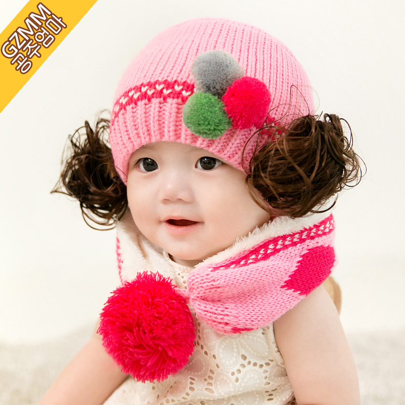 Korean baby hat baby hat lovely autumn and winter months wig autumn and winter wool hat winter bonnet