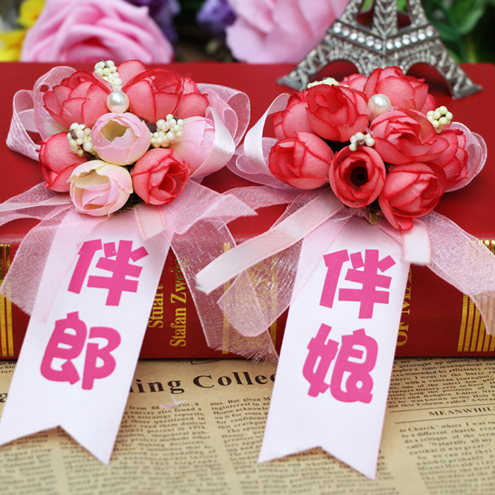 Korean bride and groom boutonniere corsage wedding corsage wedding supplies wedding essential supplies hand wrist flower flower