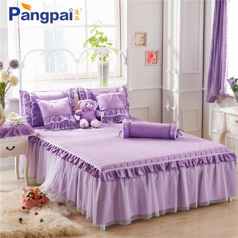 Korean cotton lace bed skirt single piece of thick cotton quilted bed linen bed sets bedspread 1.5m1.8 m
